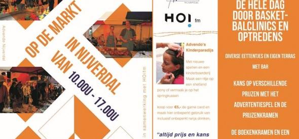 Advendo's Oranjefeest met live radio van HOifm op de Markt