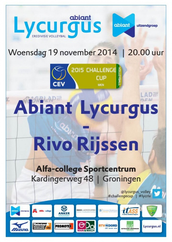 CEV Challenge Cup Abiant Lycurgus - Rivo Rijssen