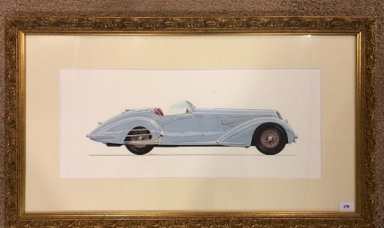 Painted rendering of an Alfa Romeo 8c 2900 B Touring Spider