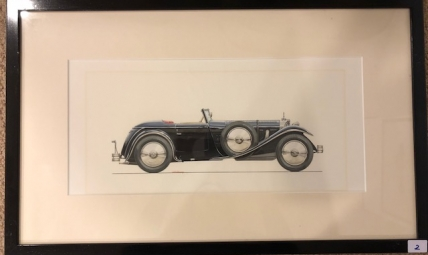 Painted rendering of a Mercedes-Benz 680S Saoutchik roadster